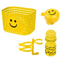 Cykelkurv + ringeklokke + flaske m. holder med smileys